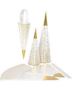 Spitztüten, H: 18+28 cm, 120 g, Gold, Weiß, 3 Stck./ 1 Pck.