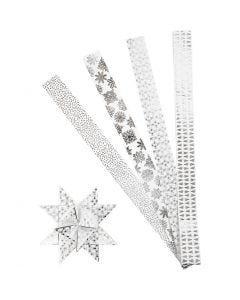 Papierstreifen für Fröbelsterne, L: 100 cm, D: 18 cm, B: 40 mm, Silber, Weiß, 40 Streifen/ 1 Pck.