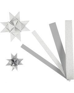 Papierstreifen für Fröbelsterne, L: 44+78 cm, D: 6,5+11,5 cm, B: 15+25 mm, Glitter,Lack, Silber, 40 Streifen/ 1 Pck.