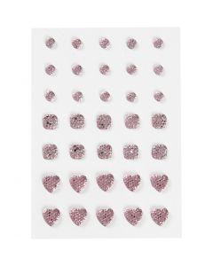 Strasssteine, rund, quadratisch, herzförmig, Größe 6+8+10 mm, Rosa, 35 Stck./ 1 Pck.