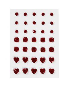 Strasssteine, rund, quadratisch, herzförmig, Größe 6+8+10 mm, Rot, 35 Stck./ 1 Pck.