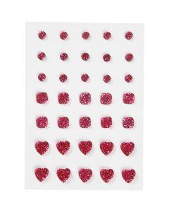 Strasssteine, rund, quadratisch, herzförmig, Größe 6+8+10 mm, Pink, 35 Stck./ 1 Pck.
