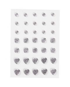 Strasssteine, rund, quadratisch, herzförmig, Größe 6+8+10 mm, Silber, 35 Stck./ 1 Pck.