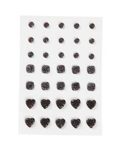 Strasssteine, rund, quadratisch, herzförmig, Größe 6+8+10 mm, Schwarz, 35 Stck./ 1 Pck.