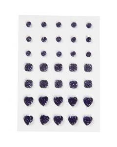Strasssteine, rund, quadratisch, herzförmig, Größe 6+8+10 mm, Blau, 35 Stck./ 1 Pck.
