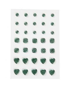Strasssteine, rund, quadratisch, herzförmig, Größe 6+8+10 mm, Grün, 35 Stck./ 1 Pck.