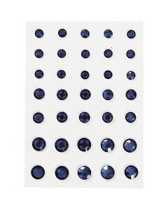 Strasssteine, konisch rund, Größe 6+8+10 mm, Blau, 35 Stck./ 1 Pck.