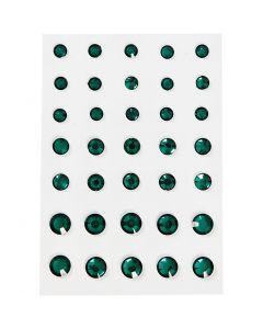Strasssteine, konisch rund, Größe 6+8+10 mm, Grün, 35 Stck./ 1 Pck.