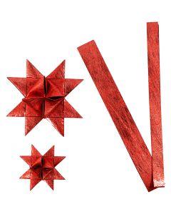 Papierstreifen für Flechtsterne, L: 44+78 cm, D: 6,5+11,5 cm, B: 15+25 mm, Rot, 32 Streifen/ 1 Pck.