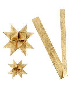Papierstreifen für Flechtsterne, L: 44+78 cm, D: 6,5+11,5 cm, B: 15+25 mm, Gold, 32 Streifen/ 1 Pck.
