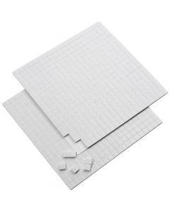 3D-Klebepads, Größe 5x5 mm, Stärke: 2 mm, Weiß, 2 Bl./ 1 Pck., 2x400 Stck.
