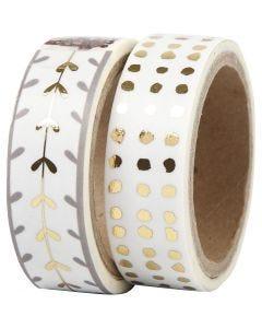 Washi Tape, Herzen und Punkte - Glanzfolie, B: 15 mm, Gold, Weiß, 2x4 m/ 1 Pck.