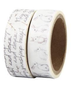 Washi Tape, Text und Kaninchen, B: 15 mm, 2x5 m/ 1 Pck.