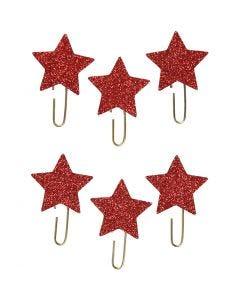 Papier-Klammern aus Metall, Stern, D: 30 mm, Rot mit Glitter, 6 Stck./ 1 Pck.