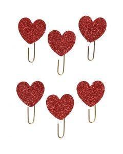 Papier-Klammern aus Metall, Herz, D: 30 mm, Rot mit Glitter, 6 Stck./ 1 Pck.