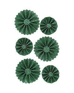 Papier-Rosetten, D: 35+50 mm, Grün mit Glitter, 6 Stck./ 1 Pck.