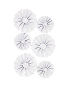 Papier-Rosetten, D: 35+50 mm, Weiß mit Glitter, 6 Stck./ 1 Pck.