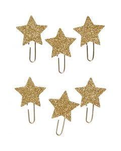 Papier-Klammern aus Metall, Stern, D: 30 mm, Gold mit Glitter, 6 Stck./ 1 Pck.