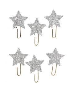 Papier-Klammern aus Metall, Stern, D: 30 mm, Glitter silber, 6 Stck./ 1 Pck.