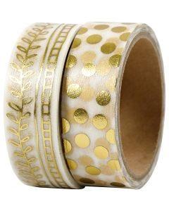 Washi Tape, Girlanden und Punkte, B: 15 mm, Gold, 2x4 m/ 1 Pck.