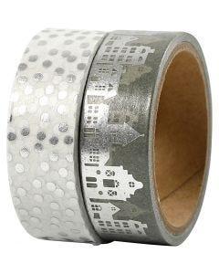 Washi Tape, Häuser & Punkte - Folie, B: 15 mm, Silber, 2x4 m/ 1 Pck.