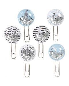 Shaker Clips, L: 49 mm, D: 25 mm, Schwarz, Blau, Grau, Weiß, 6 Stck./ 1 Pck.