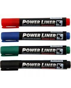 Power Liner, Schwarz, Blau, Grün, Rot, 4 Stck./ 1 Pck.