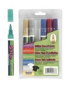 Stoffmalstifte mit Glitter - Sortiment , Strichstärke 3 mm, Glitter Farben, 6 Stck./ 1 Pck.