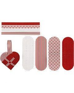 Flechtherzen, Größe 14,5x10 cm, 120 g, Rot, Weiß, 8 Set/ 1 Pck.