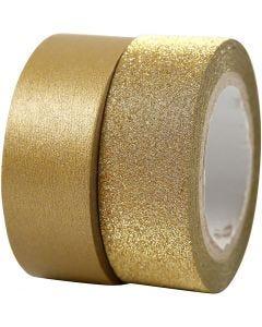 Design-Klebeband, B: 15 mm, Gold, 2 Rolle/ 1 Pck.