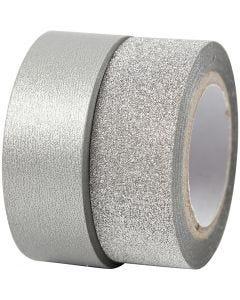 Design-Klebeband, B: 15 mm, Silber, 2 Rolle/ 1 Pck.