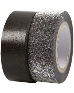Design-Klebeband, B: 15 mm, Schwarz, 2 Rolle/ 1 Pck.