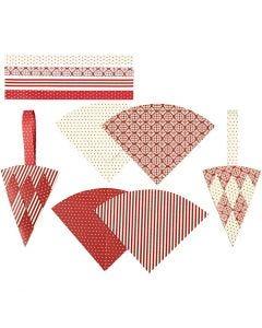 Flechttüten, H: 19,3 cm, B: 9,2 cm, Rot, Weiß, 8 Set/ 1 Pck.