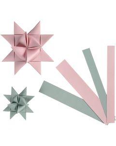 Papierstreifen für Fröbelsterne, B: 15+25 mm, D: 6,5+11,5 cm, 60 Streifen/ 1 Pck.