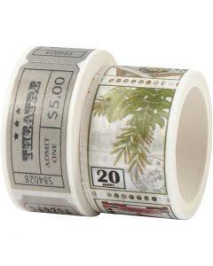Washi Tape, Ticket- und Naturmotive, L: 3+5 m, B: 20+25 mm, 2 Rolle/ 1 Pck.