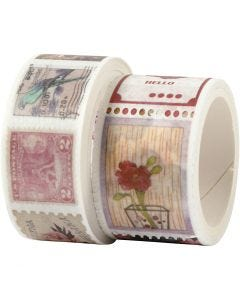 Washi Tape, L: 3+5 m, B: 20+25 mm, 2 Rolle/ 1 Pck.