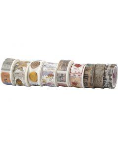 Washi Tape, L: 3+5 m, B: 15+25 mm, 9 Rolle/ 1 Pck.