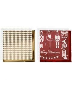 Deko- und Transferfolie, Nussknacker, Weihnachtsmann, Ballerina, 15x15 cm, Gold, Rot, Weiß, 4 Bl./ 1 Pck.