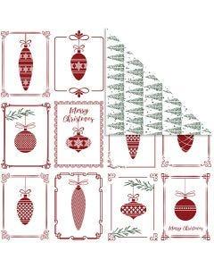 Design-Papier, Christbaumkugeln und Weihnachtsbäume, 30,5x30,5 cm, 180 g, 5 Bl./ 1 Pck.