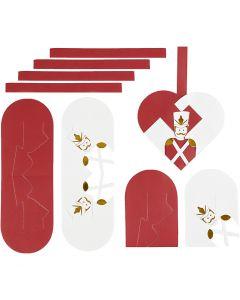 Flechtherzen, Größe 12,5x11,5 cm, Gold, Rot, Weiß, 8 Set/ 1 Pck.