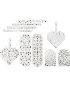 Flechtherzen, Größe 12,5x11,5 cm, 120 g, Silber, Weiß, 8 Set/ 1 Pck.