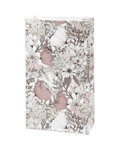 Papiertüten, H: 21 cm, Größe 6x12 cm, 80 g, Beige, Braun, Rosa, Weiß, 8 Stck./ 1 Pck.