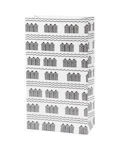 Papiertüten, H: 21 cm, Größe 6x12 cm, 80 g, Schwarz, Weiß, 8 Stck./ 1 Pck.