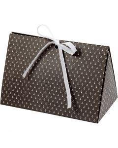Geschenkverpackung, Anker, Größe 15x7x8 cm, 250 g, Dunkelgrau, Weiß, 3 Stck./ 1 Pck.