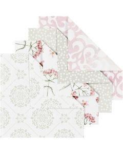 Origami-Papier, Größe 10x10 cm, 80 g, Grün, Grau, Rosa, Weiß, 40 Bl./ 1 Pck.