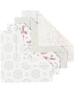 Origami-Papier, Größe 15x15 cm, 80 g, Grün, Grau, Rosa, Weiß, 40 Bl./ 1 Pck.