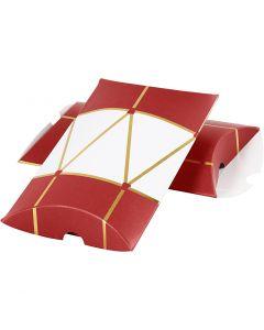 Geschenkverpackung, Trommel, Größe 14,9x9,4x2,5 cm, 300 g, Gold, Rot, Weiß, 3 Stck./ 1 Pck.