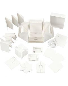 Explosion Box, Größe 7x7x7,5+12x12x12 cm, Naturweiß, 1 Stck.