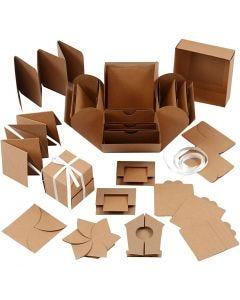 Explosion Box, Größe 7x7x7,5+12x12x12 cm, Natur, 1 Stck.
