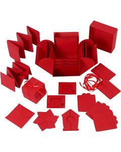 Explosion Box, Größe 7x7x7,5+12x12x12 cm, Rot, 1 Stck.